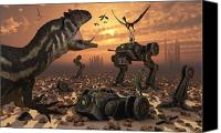 Artificial Intelligence Canvas Prints - Dinosaurs And Robots Fight A War Canvas Print by Mark Stevenson