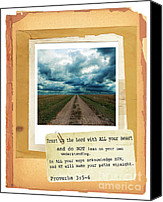 Stormy Canvas Prints - Dirt Road with Scripture Verse Canvas Print by Jill Battaglia
