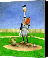 Baseball Painting Canvas Prints - Dirty pitchers... Canvas Print by Will Bullas