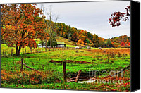 Barbed Wire Fences Digital Art Canvas Prints - Distant Farmhouse on Field of Gold Canvas Print by Dan Stone
