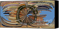 Swirl Canvas Prints - Distorted Lower Manhattan Canvas Print by Susan Candelario