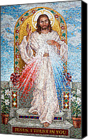Religious Mosaic Mixed Media Canvas Prints - Divine Mercy  Canvas Print by Janet Flom