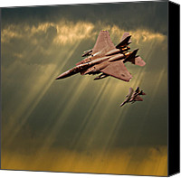 Usaf Canvas Prints - Diving Eagles Canvas Print by Meirion Matthias