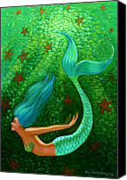 Water Pastels Canvas Prints - Diving Mermaid Fantasy Art Canvas Print by Sue Halstenberg