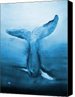 Deborah Lee Canvas Prints - Diving Whale Canvas Print by Deborah Lee