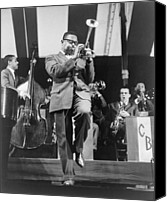 Bandleader Canvas Prints - Dizzy Gillespie 1917-1993 Playing Horn Canvas Print by Everett