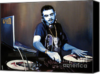 Hip-hop Canvas Prints - Dj Am Canvas Print by Ryan Jones