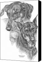 Pinscher Canvas Prints - Dober-Friends - Doberman Pinscher Dogs Portrait Canvas Print by Kelli Swan