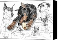Dobermann Canvas Prints - Dober-Thoughts - Doberman Pinscher Montage Print color tinted Canvas Print by Kelli Swan