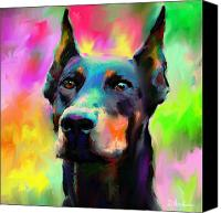 Pet Portrait Digital Art Canvas Prints - Doberman Pincher Dog portrait Canvas Print by Svetlana Novikova
