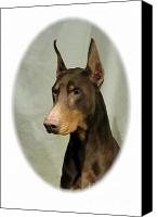Doberman Prints Canvas Prints - Doberman Pinscher 148 Canvas Print by Larry Matthews