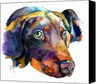 Puppy Canvas Prints - Doberman Watercolor Canvas Print by Christy  Freeman
