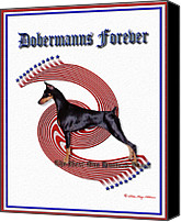 Dobe Canvas Prints - Dobermanns Forever - The Next One Hundred Years Canvas Print by Rita Kay Adams