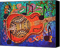 Hawaiian Tapestries - Textiles Canvas Prints - Dobro - Slide Guitar Canvas Print by Sue Duda