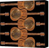 Wood Digital Art Canvas Prints - Dobro 6 Canvas Print by Mike McGlothlen