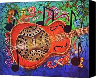 Instrument Tapestries - Textiles Canvas Prints - Dobro-Slide Guitar-2 Canvas Print by Sue Duda
