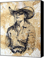 Cowgirl Drawings Canvas Prints - Doc Canvas Print by Debra Jones