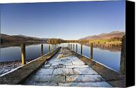 Blue Point Canvas Prints - Dock In A Lake, Cumbria, England Canvas Print by John Short