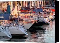 Lined Canvas Prints - Docked Yatchs Canvas Print by Carlos Caetano