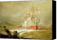 Ports Canvas Prints - Docking a Cargo Ship Canvas Print by William Lionel Wyllie