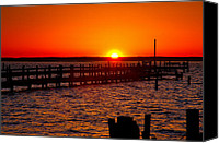 Chincoteague Canvas Prints - Docks And Sunset Canvas Print by Steven Ainsworth