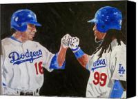 Manny Ramirez Canvas Prints - Dodgers Duo Canvas Print by Daryl Williams Jr