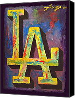 Major Mixed Media Canvas Prints - DODGERS Portrait Canvas Print by Dan Haraga