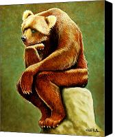Humor. Painting Canvas Prints - Does a bear sit in the woods... Canvas Print by Will Bullas