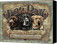 Dogs Painting Canvas Prints - Dog Day Acres Sign Canvas Print by JQ Licensing
