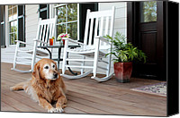 Rocking Chairs Photo Canvas Prints - Dog days of summer Canvas Print by Toni Hopper