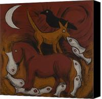 Horse Standing Canvas Prints - Dog Dream Canvas Print by Sophy White