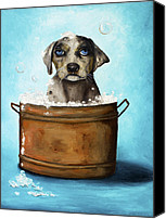 Bathing Painting Canvas Prints - Dog N Suds Canvas Print by Leah Saulnier The Painting Maniac