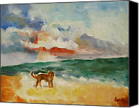 Susan Hanlon Canvas Prints - Dog On The Beach Canvas Print by Susan Hanlon