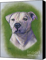 White Pastels Canvas Prints - Dog portrait Canvas Print by Anastasis  Anastasi