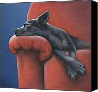 Blue Heeler Canvas Prints - Dog Tired Canvas Print by Cynthia House