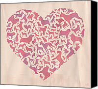 Mitch Frey Canvas Prints - Dog Valentine Canvas Print by Mitch Frey