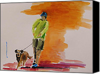 Work On Paper Drawings Canvas Prints - Dog Walker Canvas Print by John  Williams