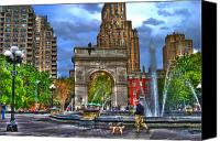 Washington Square Canvas Prints - Dog Walking at Washington Square Park Canvas Print by Randy Aveille