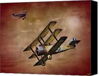 Camel Digital Art Canvas Prints - Dogfight 1918 Canvas Print by Chris Lord