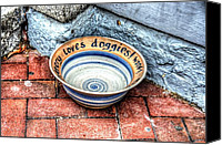 Stoneware Canvas Prints - Doggie Dish Canvas Print by Debbi Granruth