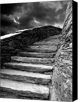 Castle Pyrography Canvas Prints - Dolbadarn Castle Steps Canvas Print by Duncan Rowe