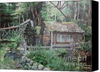 Shed Pastels Canvas Prints - Dolby Water Wheel Canvas Print by Terri Thompson