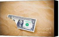 Found Paper Canvas Prints - Dollar in the sand horizontal. Canvas Print by Richard Thomas