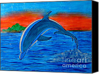 Sunset Glass Art Canvas Prints - Dolphin Canvas Print by Betta Artusi
