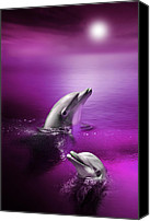 Dolphins Digital Art Canvas Prints - Dolphin Delights Canvas Print by Julie L Hoddinott