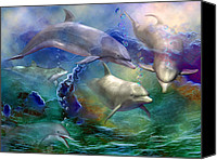 The Art Of Carol Cavalaris Canvas Prints - Dolphin Dream Canvas Print by Carol Cavalaris