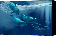 Creature Painting Canvas Prints - Dolphin World Canvas Print by Corey Ford