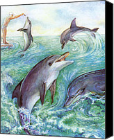 Natalie Berman Canvas Prints - Dolphins Canvas Print by Natalie Berman