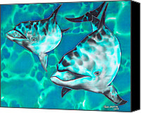 Silk Postcard Tapestries - Textiles Canvas Prints - Dolphins of Sanne Bay Canvas Print by Daniel Jean-Baptiste