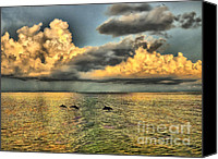 Dolphins Digital Art Canvas Prints - Dolphins Play at Sanibel Island Canvas Print by Jeff Breiman